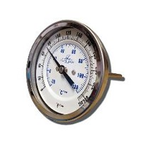 "STAINLESS STEEL KETTLE THERMOMETER 3"" DIAL AND 4"" PROBE"
